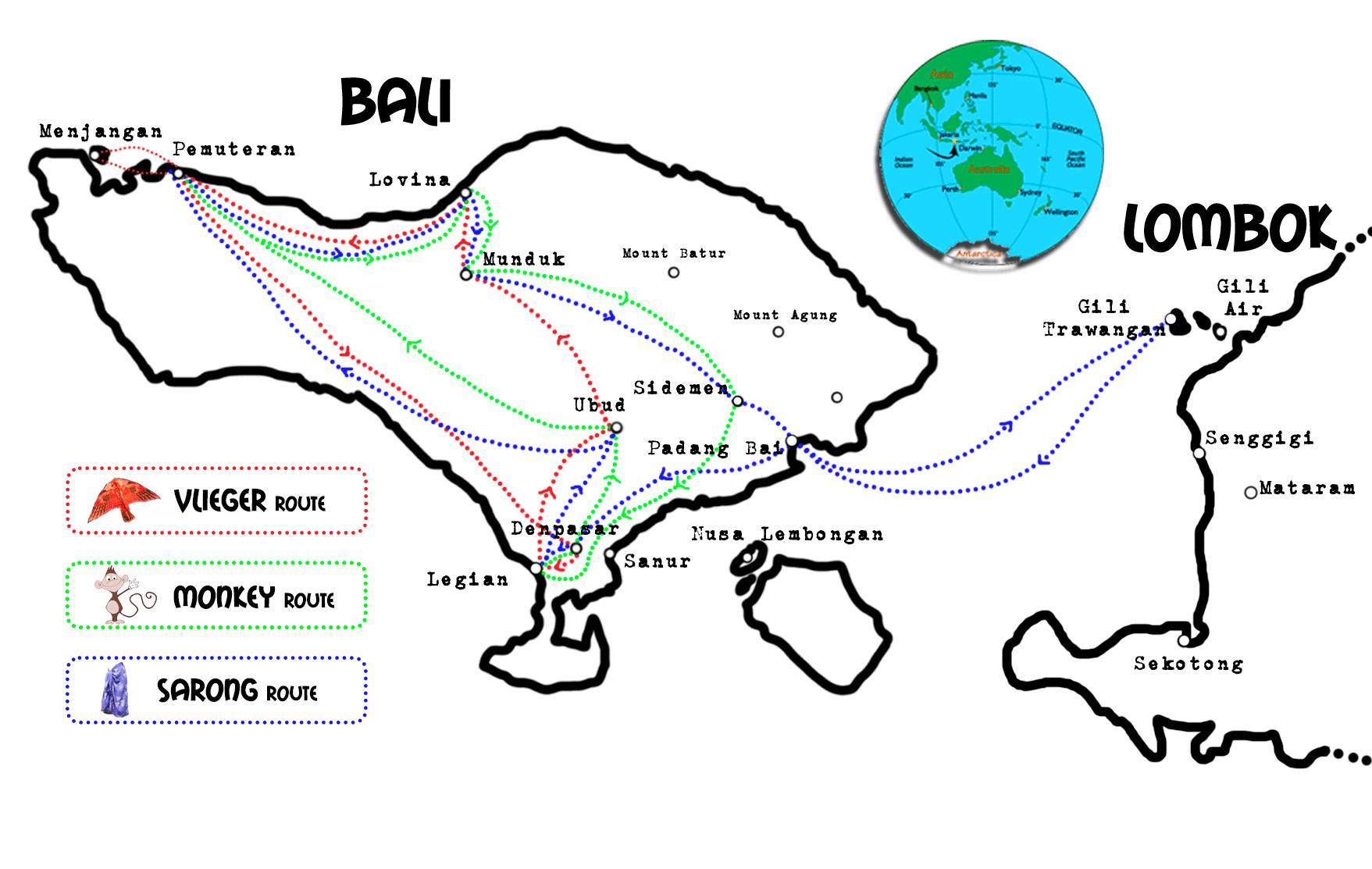 Kaart Bali